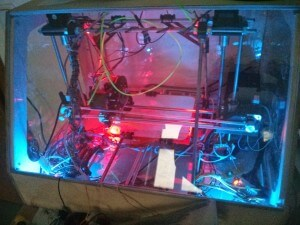 3D Printer case in the dark -  front 3