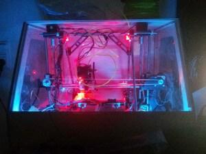 3D Printer case in the dark -  front 2
