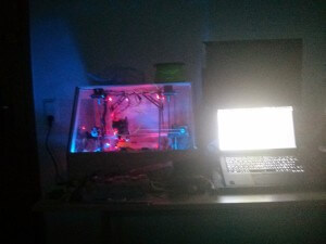 3D Printer case in the dark - front