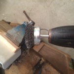 VW T4 Project - War against Rust - Battle I: fuel tank cap - my tool, an automated wire brush