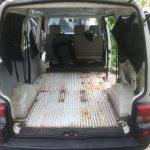 VW T4 Project – Interior construction - Removal of all Seats - the floor surprisingly has no bigger rust issues