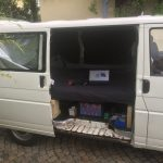 VW T4 Project – Interior construction – Realization - right side with sketchup model on laptop