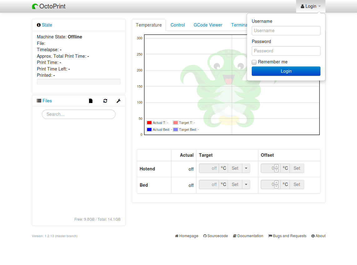 Octoprint - M33-Fio - Raspberry Pi - login the first time